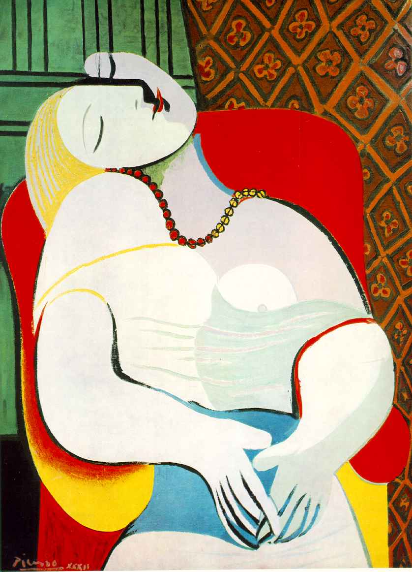 This image is a representation of Modernism art because its unique style of drawing where parts of the womens body, even the face, is put together like a piece of puzzle. Also the women has round edges.